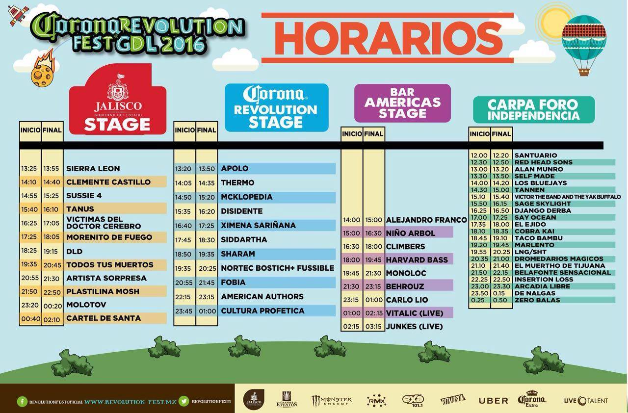 Revolution Fest 2016 GDL Horarios