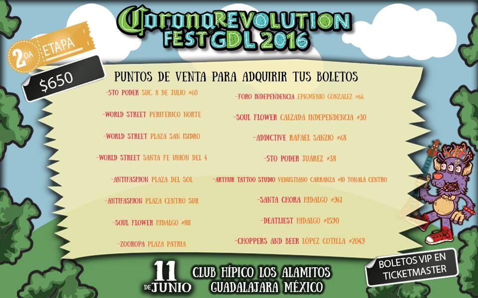 Revolution Fest 2016 GDL Puntos de venta